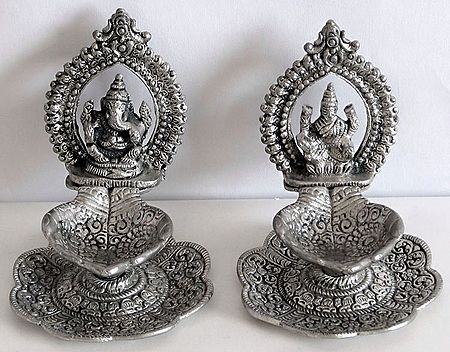 Oil Lamps with Ganesha and Lakshmi