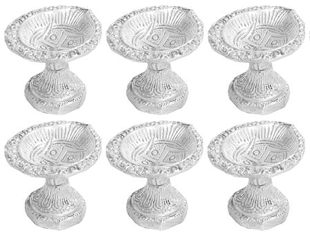 Set of 6 White Metal Ghee or Oil Lamp with Swastik (Auspicious Hindu Symbol)