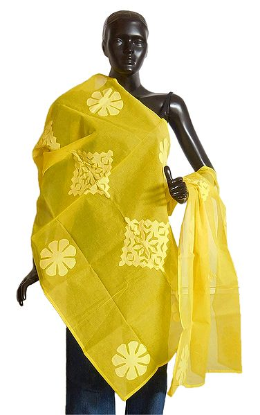 Bright Yellow Organdy Cotton Chunni with Applique Work