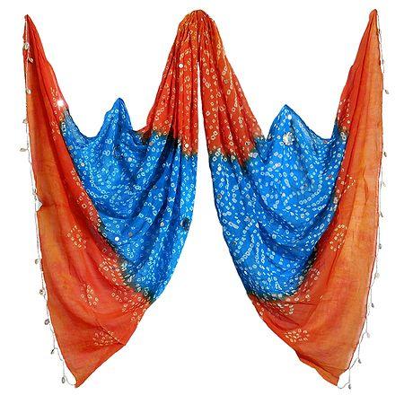 Cyan Blue with Saffron Bandhni Cotton Chunni