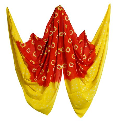 Saffron with Yellow Bandhni Cotton Chunni