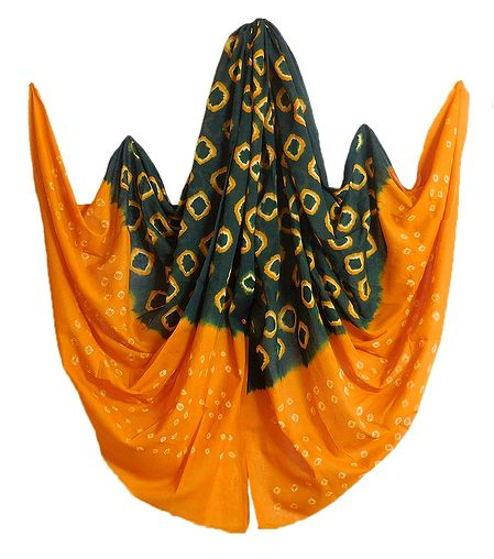 Green with Yellow Bandhni Cotton Dupatta