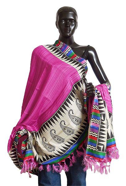 Dark Pink Bhagalpuri Silk Odhni with Multicolor Border and Paisley Print on Aanchal