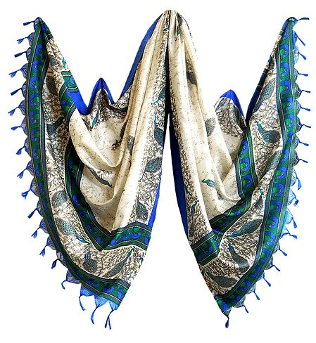 Off-White Bhagalpuri Silk Chunni with Peacock Design
