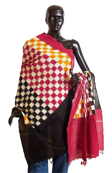 Red, Yellow and off-White Check Chunni with Black and Red Pallu
