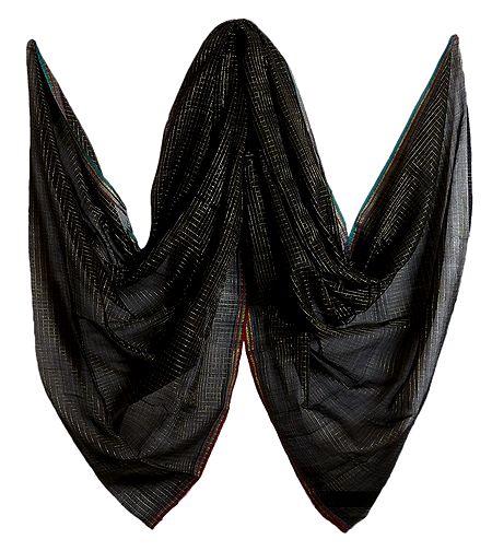 Black with Golden Check Bengal Handloom Cotton Chunni