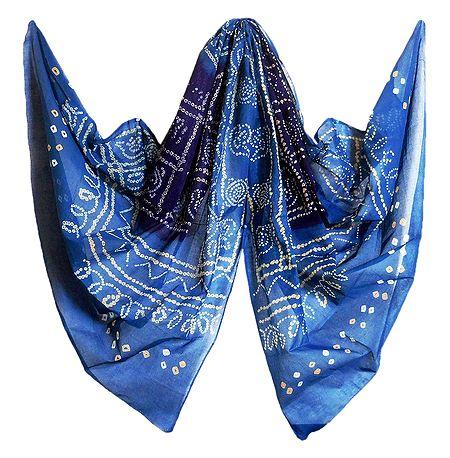 Blue Bandhni Cotton Chunni
