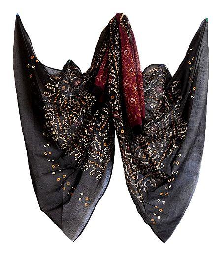 Maroon with Black Bandhni Cotton Dupatta