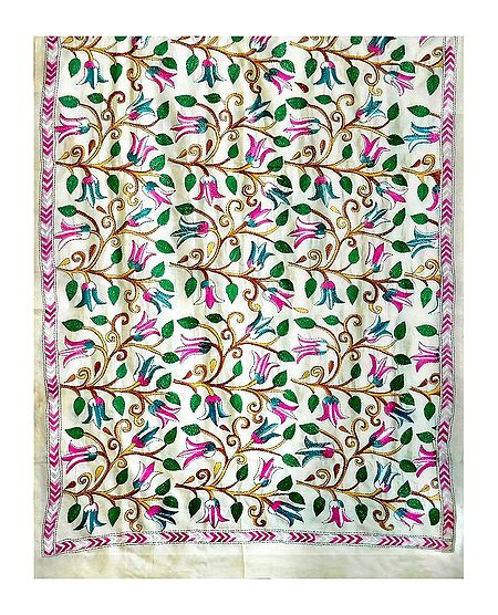 Kantha Embroidery on Off-White Tussar Silk Dupatta