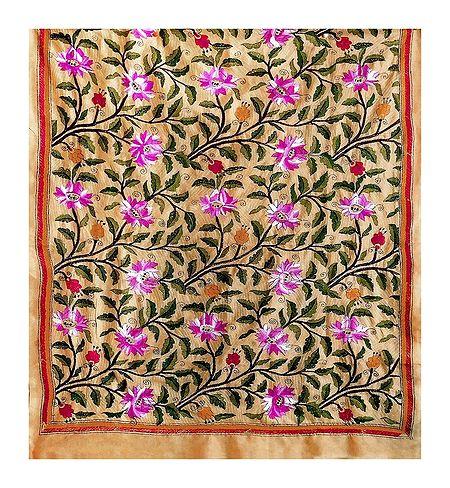 Kantha Embroidery on Beige Tussar Silk Dupatta