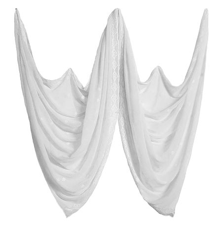 Embroidered White Synthetic Dupatta