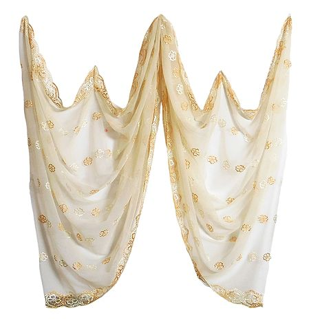 Light Cream Synthetic Dupatta with Embroidery