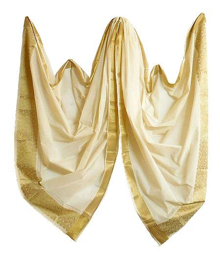 Off-White Kasavu Cotton Chunni