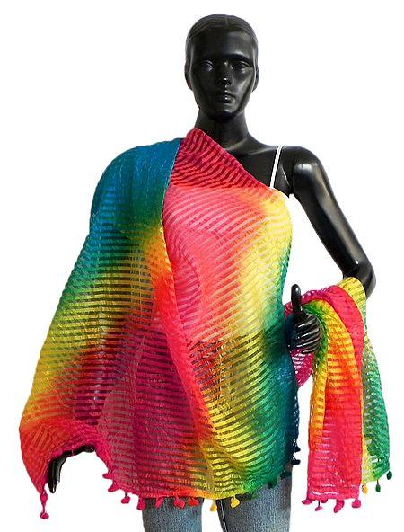 Multicolor Striped Synthetic Chunni