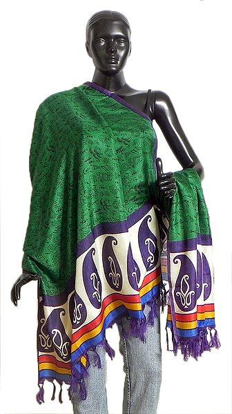 Tribal Design on Green Bhagalpuri Silk Chunni with Paisley Design and Purple Border