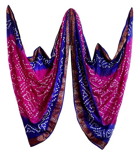 Art Silk Magenta with Blue Bandhej Chunni with Zari Border