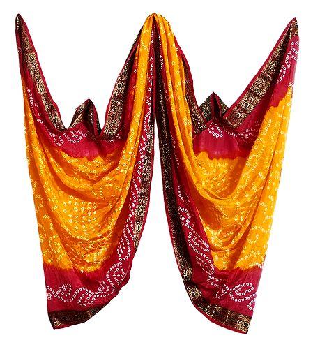 Art Silk Yellow with Red Bandhej Chunni with Zari Border