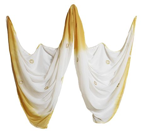 Embroidered White with Yellow Synthetic Dupatta