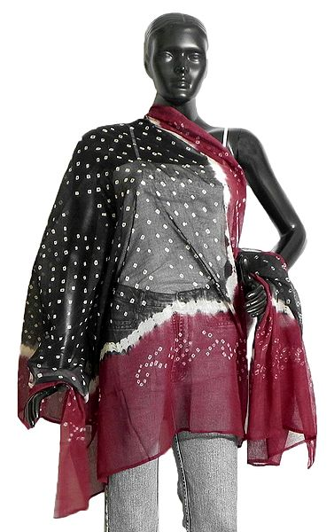 Black and Maroon Bandhani Dupatta