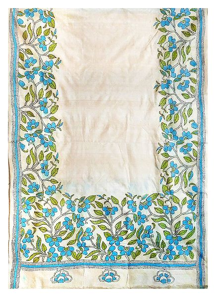 Kantha Embroidery on Off-White Tussar Dupatta