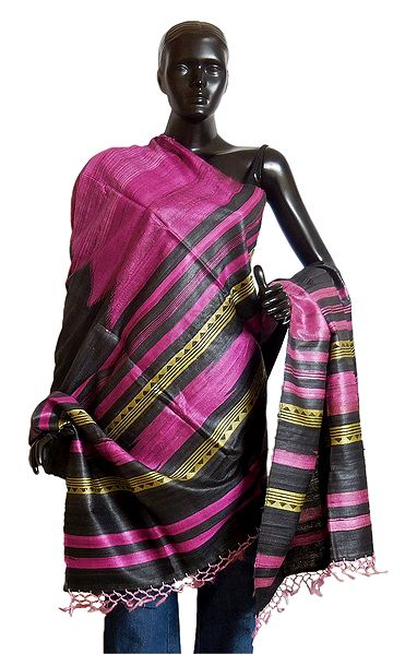 Black with Magenta Tussar Chunni with Pink and Light Yellow Stripe Pallu
