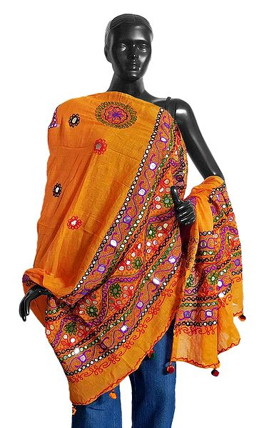Printed Yellow Cotton Chunni with Embroidery