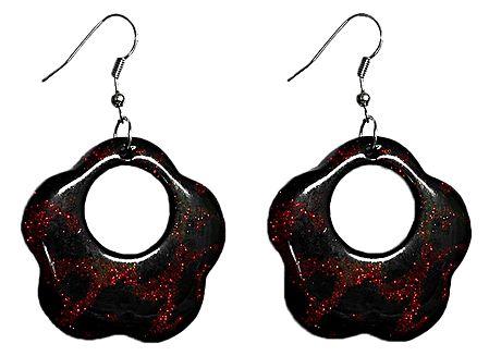Red with Black Hoop Earrings