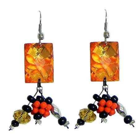 Fancy Saffron Acrylic Earrings