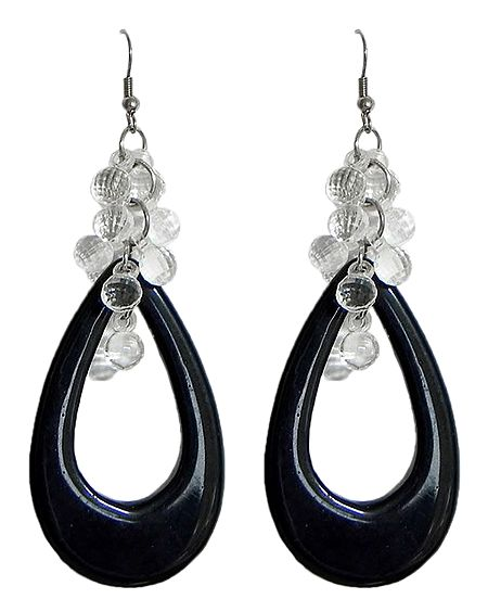 Black Acrylic Hoop Earrings with White Beads