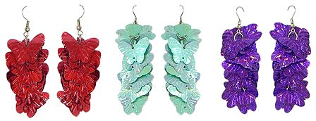 Set of 3 Pairs of Red, Blue and Purple Acrylic Butterfly Earrings