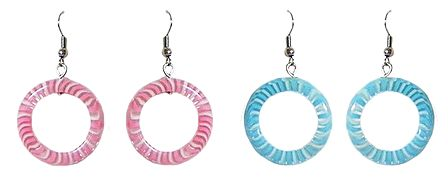 Set of 2 Pairs Blue and Pink Hoop Earrings