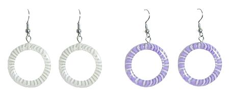 Set of 2 Pairs White and Mauve Hoop Earrings