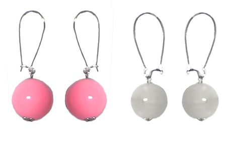 Set of 2 Pairs Ivory and Pink Ball Earrings