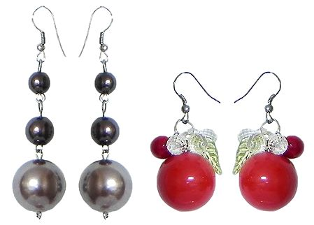 Set of 2 Pairs Red and Brown Ball Earrings