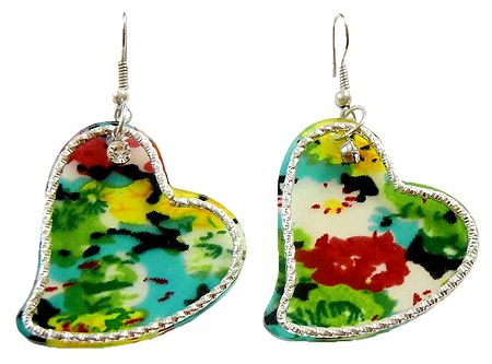 Pair of Multicolor Acrylic Heart Earrings