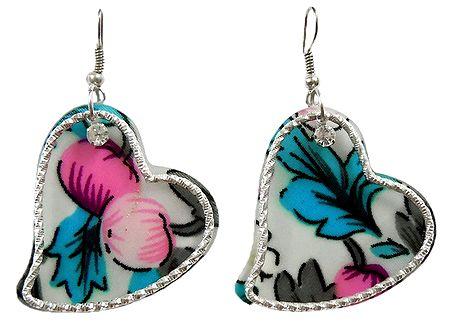 Pair of Multicolor Acrylic Heart Earrings