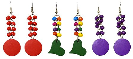 Set of 3 Pairs Multicolor Acrylic Dangle Earrings