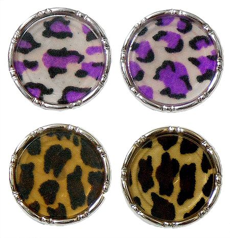 Set of 2 Pairs Multicolor Acrylic Disc Earrings
