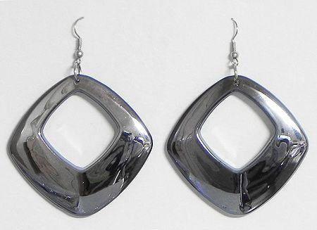 Dark Grey Acrylic Hoop Earrings
