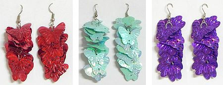 Set of 3 Pairs Acrylic Cluster Butterfly Earrings