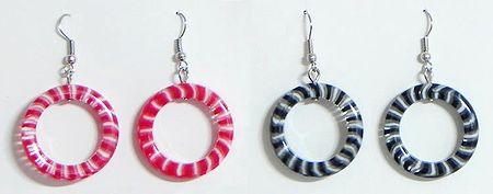 Set of 2 Pairs Red and Black Hoop Earrings