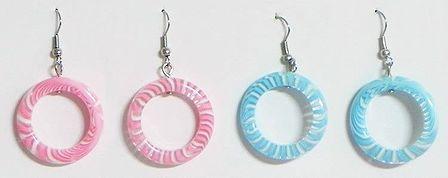 Set of 2 Pairs Blue and Pink Hoop Earrings