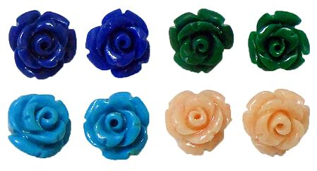 Set of 4 Pairs Cyan Blue, Green, Blue and Light Peach Rose Earrings
