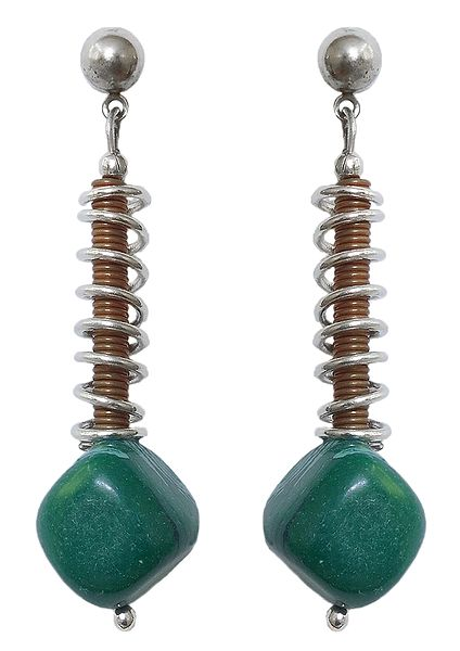 Green Stone Bead Metal Earrings