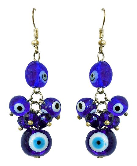 Blue Stone Bead Earrings
