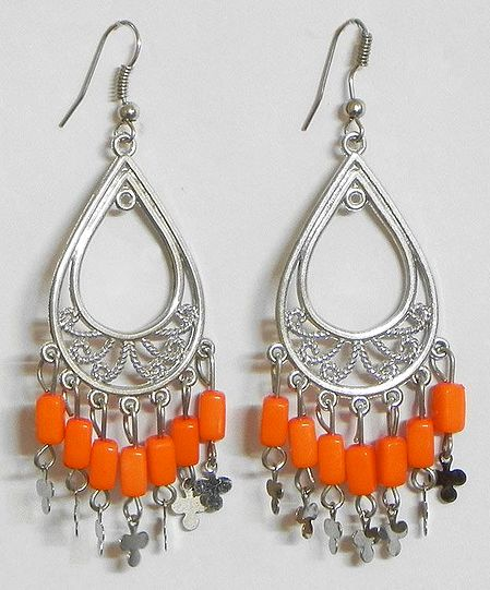 Hoop Earrings with Saffron Color Bead