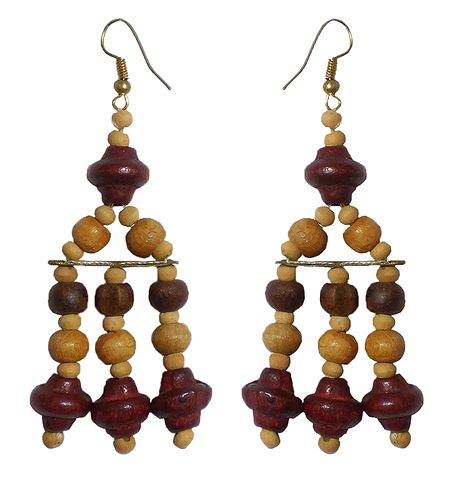 Wooden Bead Jhalar Earrings