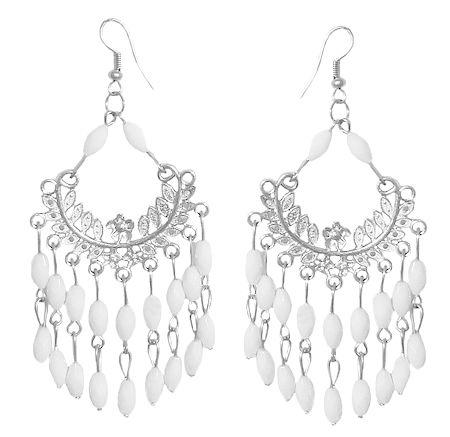 White Beaded Jhalar Earrings