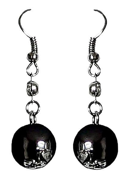 Black Bead Metal Earrings