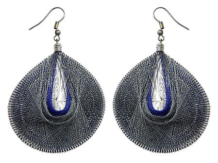Dark Grey and Blue with White Thread Earrings